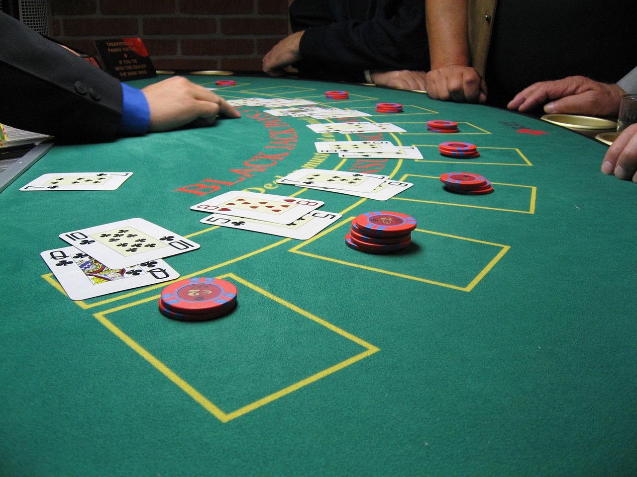 Blackjack card game in land-based casino