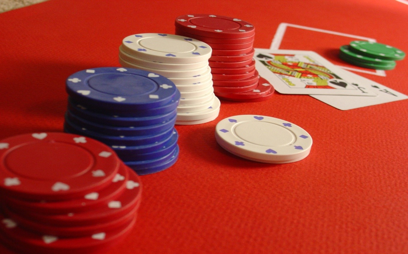 Casino chips and AJ Blackjack combination
