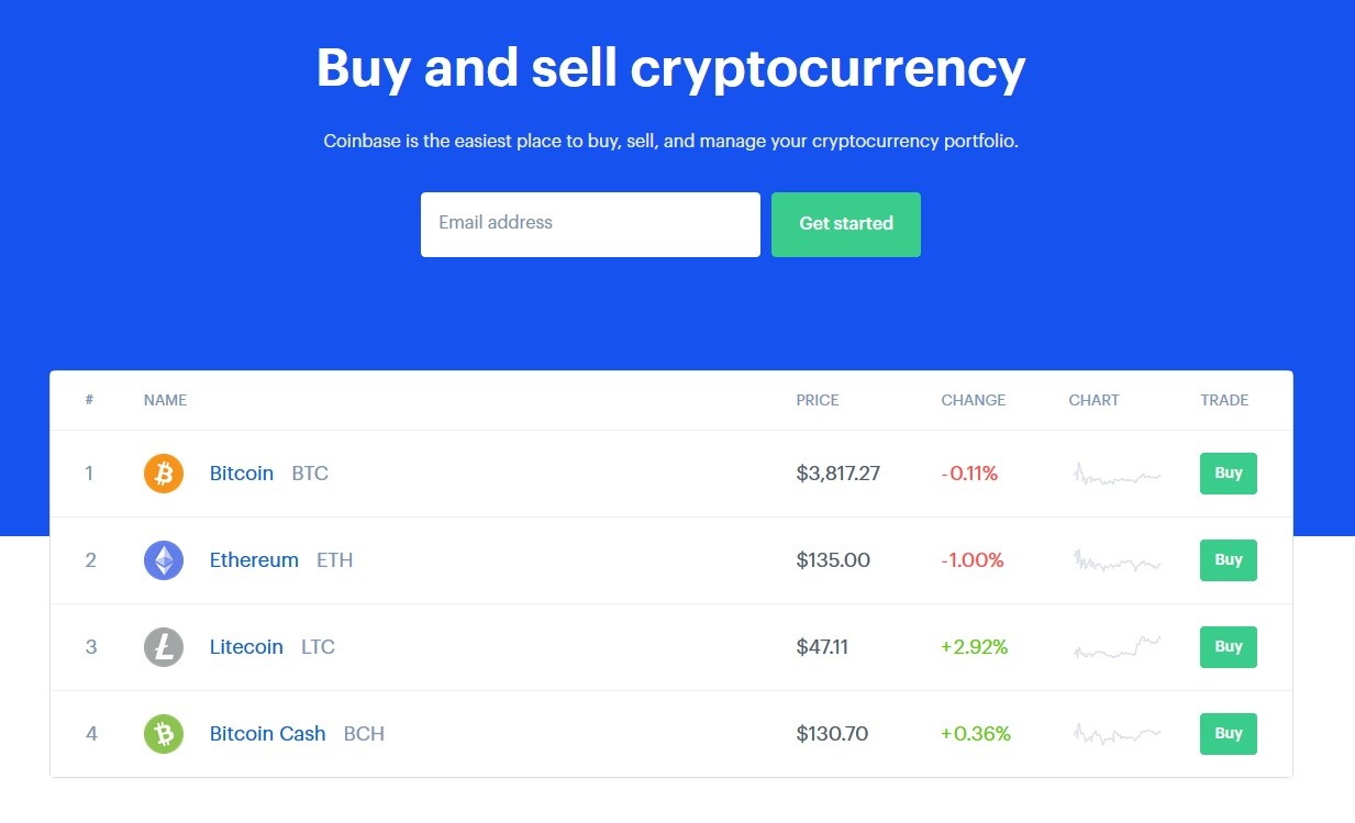 Coinbase - User friendly Cryptocurrency Exchange