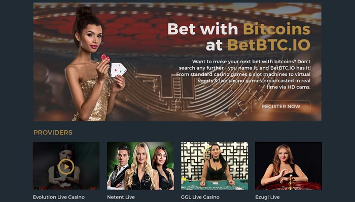 Screenshot of Live Casino Games Section
