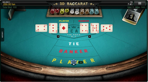 Screenshot of online baccarat table